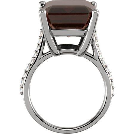 14KT White Gold Smoky Quartz & 1/4 Carat Total Weight Diamond Ring
