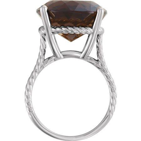14KT White Gold Smoky Quartz Ring