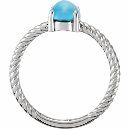 14KT White Gold Swiss Blue Topaz Cabochon Ring