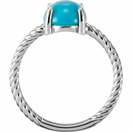 14KT White Gold Turquoise Cabochon Ring