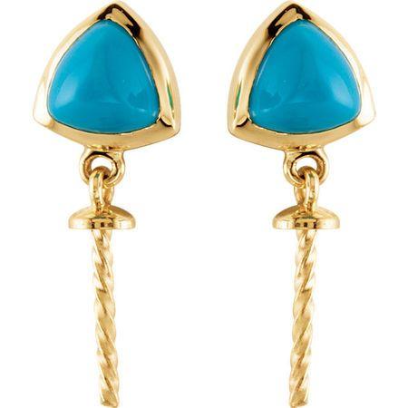 14KT White Gold Turquoise Semi-set Earrings for Pearl