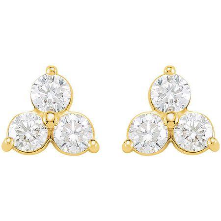 14KT Yellow Gold 1 1/5 CTW Three-Stone Diamond Earrings