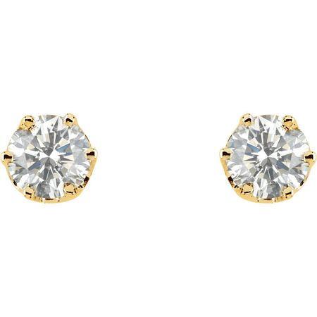 14KT Yellow Gold 1 CTW Diamond Threaded Post Stud Earrings