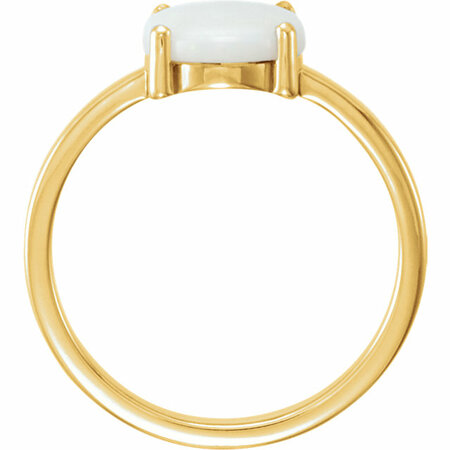 14KT Yellow Gold 10x8mm Oval Opal Cabochon Ring
