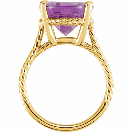 14KT Yellow Gold 14x12mm Amethyst Rope Ring