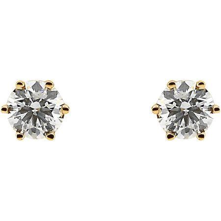 14KT Yellow Gold 3/4 CTW Diamond Threaded Post Stud Earrings