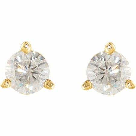 14KT Yellow Gold 4mm Round Forever Classic Moissanite 3-Prong Stud Earrings
