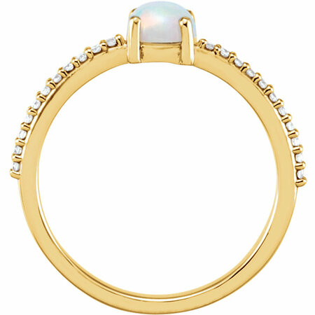 14KT Yellow Gold 5mm Round Cabochon Chatham Created Opal & 1/10 Carat Total Weight Diamond Ring