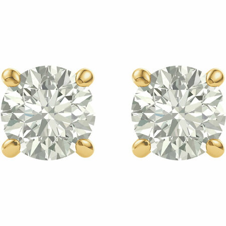 14KT Yellow Gold 5mm Round Forever Classic Moissanite  Earrings