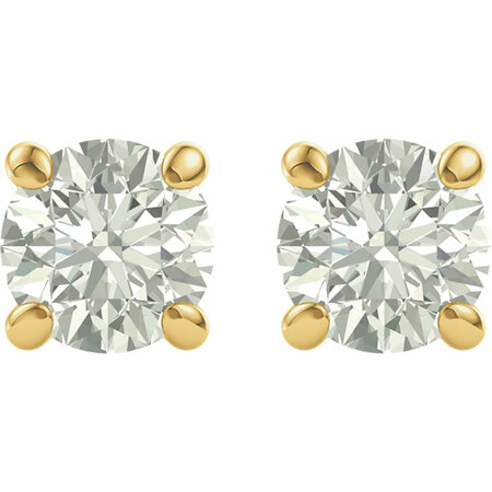 14KT Yellow Gold 6.5mm Round Forever Classic Moissanite Earrings