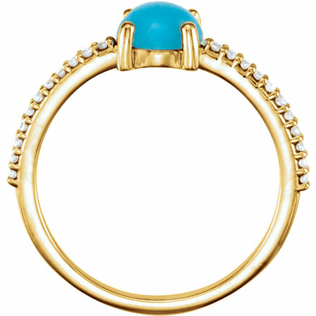 14KT Yellow Gold 6mm Round Cabochon Turquoise & 1/10 Carat Total Weight Diamond Ring