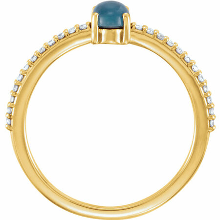 14KT Yellow Gold 6x4mm Oval Cabochon London Blue Topaz & 1/8 Carat Total Weight Diamond Ring
