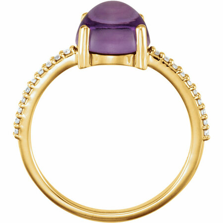 14KT Yellow Gold 8mm Round Cabochon Amethyst & 1/10 Carat Total Weight Diamond Ring