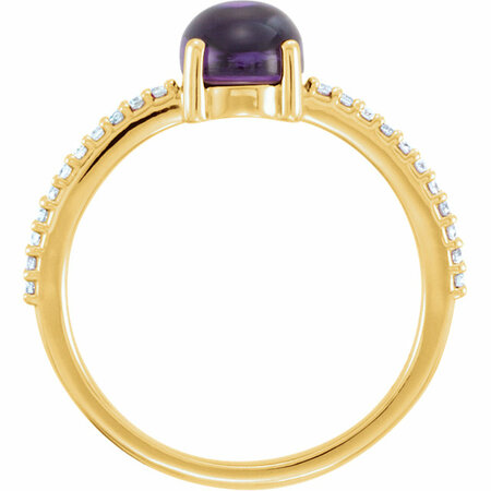 14KT Yellow Gold 8x6mm Oval Cabochon Amethyst & 1/10 Carat Total Weight Diamond Ring