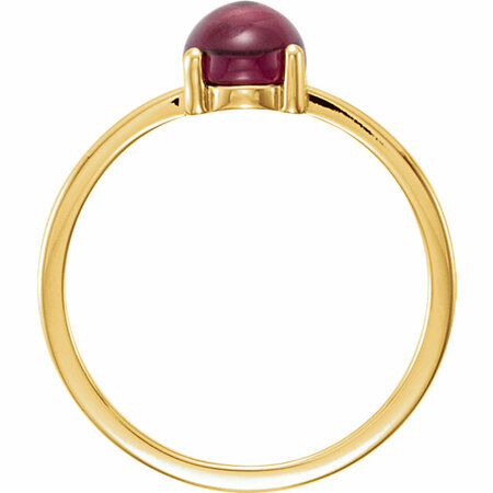 14KT Yellow Gold 8x6mm Oval Rhodolite Garnet Cabochon Ring