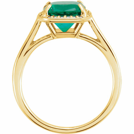 14KT Yellow Gold 8x8mm Emerald & .055 Carat Total Weight Diamond Ring