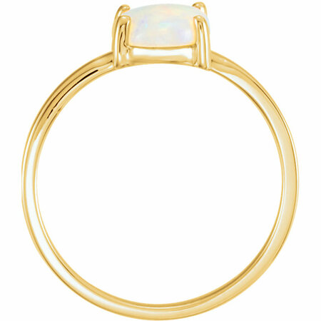 14KT Yellow Gold 9x7mm Oval Opal Cabochon Ring