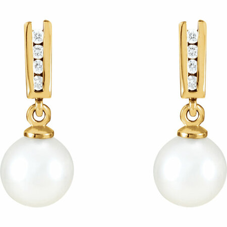 14KT Yellow Gold Akoya Cultured Pearl & 1/8 Carat Total Weight Diamond Earrings