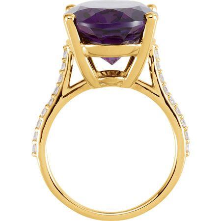 14KT Yellow Gold Amethyst & 1/4 Carat Total Weight Diamond Ring