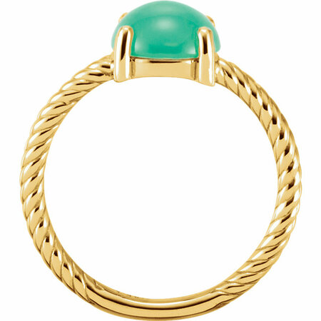 14KT Yellow Gold Chrysophrase Cabochon Ring