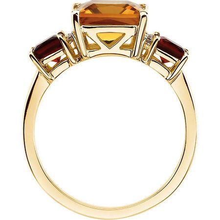 14KT Yellow Gold Citrine & .06 Carat Total Weight Diamond Ring