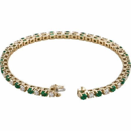 14KT Yellow Gold Emerald & 2 3/8 CTW Diamond Bracelet