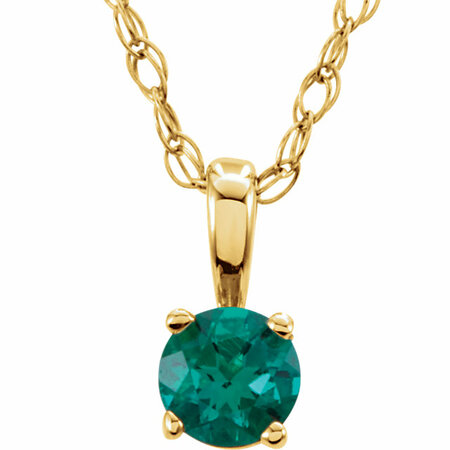 Gorgeous 14 Karat Yellow Gold Round Genuine Emerald