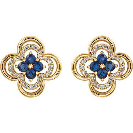 14KT Yellow Gold Genuine Blue Sapphire & 1/5 Carat Total Weight Diamond Clover Earrings