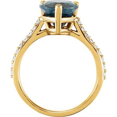 14KT Yellow Gold London Blue Topaz & 1/4 Carat Total Weight Diamond Ring