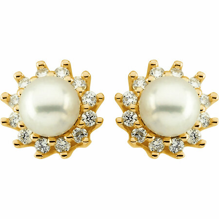 14KT Yellow Gold Pearl & 1/3 Carat Total Weight Diamond Earrings