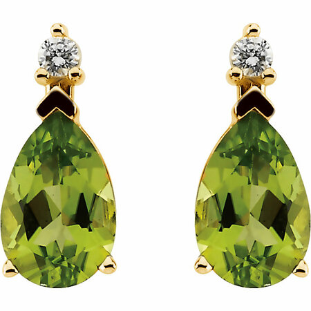 14KT Yellow Gold Peridot & .08 ct tw Diamond Earrings