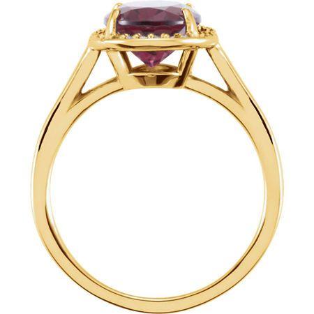 14KT Yellow Gold Rhodolite Garnet & .06 Carat Total Weight Diamond Ring