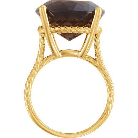 14KT Yellow Gold Smoky Quartz Ring