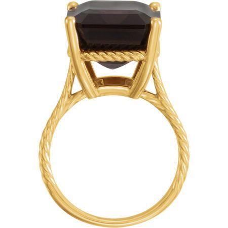 14KT Yellow Gold Smoky Quartz Rope Ring