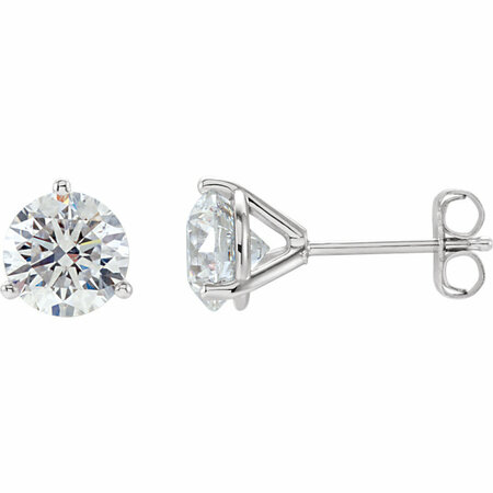 18K White 1/2 Carat Total Weight Diamond Stud Earrings