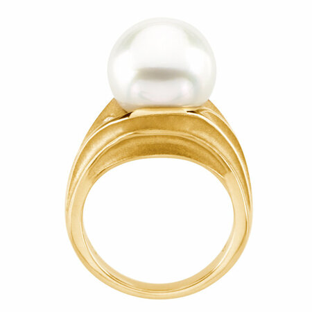 18KT Yellow .08 CTW Diamond & South Sea Cultured Pearl Ring