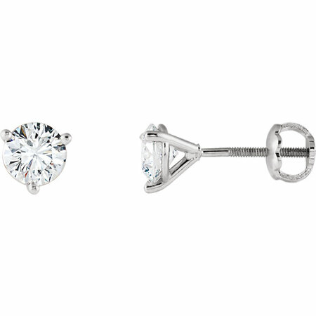 Enchanting 14 Karat White Gold 7/8 Carat Total Weight Riente Round Genuine Diamond Stud Earrings
