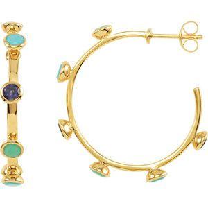 30 mm 18 karat Yellow Vermeil Hoop Earrings with Cool Colored Gems