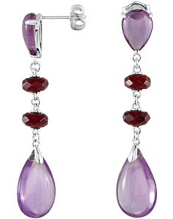 Alluring Pear Shaped Amethyst & Brazilian Garnet Dangly Earrings skillfully set in Sterling Silver for SALE