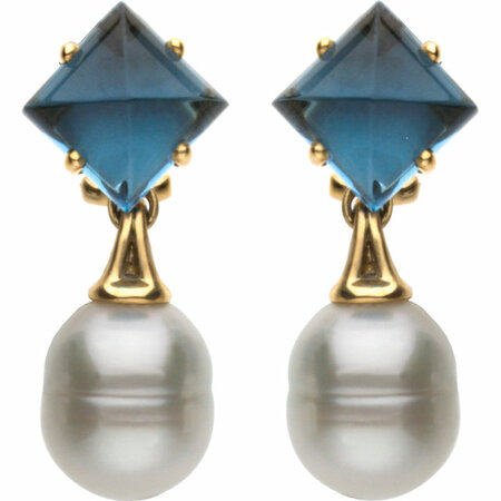 Aquarella South Sea Cultured Pearl & London Blue Topaz Earrings