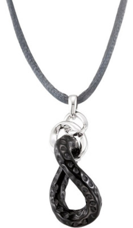 Artsy Twisted 21.85ct 32x24x5.5mm Onyx Loop Style Pendant for SALE - FREE Colored Silky Cord