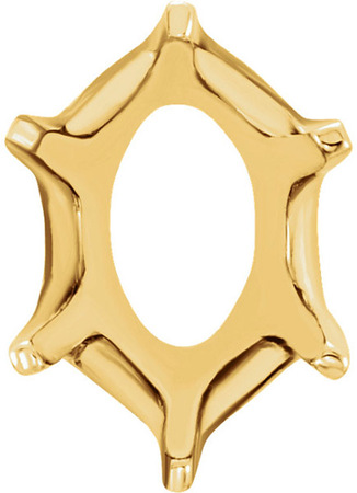 Attractive 14kt Gold 6-Prong Low Base Setting for Oval Gemstone Sized 4.00 x 3.00 mm to 9.00 x7 .00 mm
