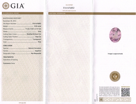Baby Pink GIA Pink Sapphire Genuine Gem Oval Cut, Soft Baby Pink Color, 11.62 x 9.02 mm, 5.55 Carats - With GIA Certificate