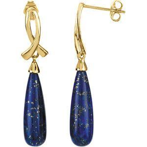 Beautiful 5.47ct 20x6mm Lapis Earrings set in 14 karat Yellow Gold for SALE - Fabulous Tear Drop Style