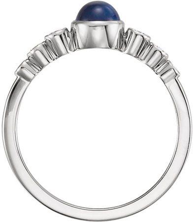 Bezel Set Blue Sapphire & Diamond Ring in 14kt Gold - 5mm Round Cab Blue Sapphire
