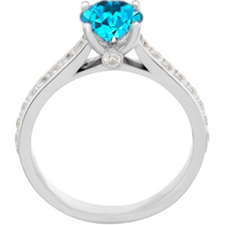 Blue Bling! - Stunning Blue Zircon Round Solitaire Engagement Ring With Inset Diamond Accents in Band - SOLD