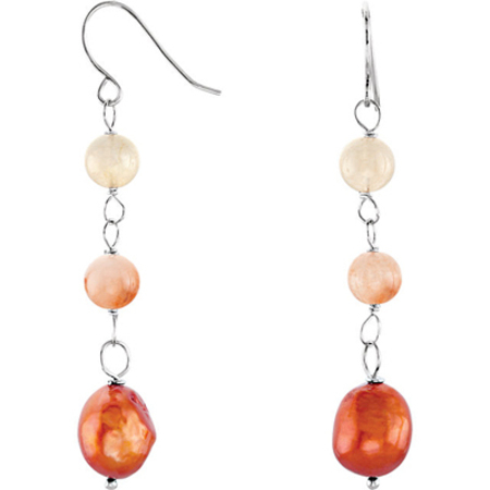 Bohemian Chic Colorful Bead Dangle Earrings in Sterling Silver With Natural Agate & Dyed Freshwater Pearl