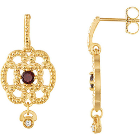 Bohemian Chic Granulated 14k Yellow Gold Dangle Earrings With .4ct 3.50mm Mozambique Garnet Gems & Diamond Dangle Accents