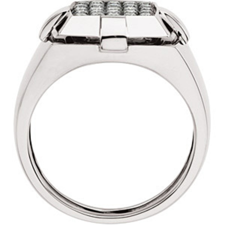Bold 0.75 Carat Total Weight Gent's 1.70 mm Diamond Ring set in 14 karat White gold - SOLD