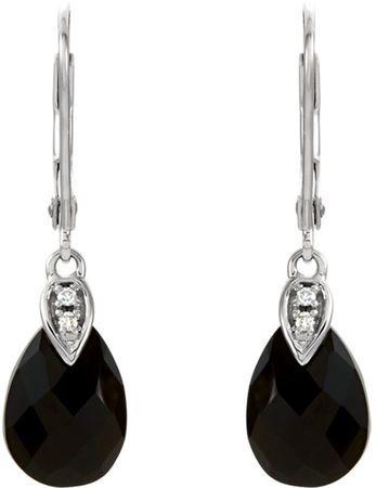 Bold & Beautiful 10x7mm Black Onyx Briolette Earrings in 14k White Gold - Diamond Accents